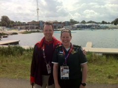 With Jo Jefferies at Eton Dorney. Jo has worked at an osteopath at Castle Osteopathic Clinic but here she's in her other role as a Thames Valley paramedic.